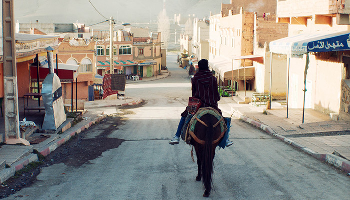 A horse and rider move down a city street in the short film So What If the Goats Die