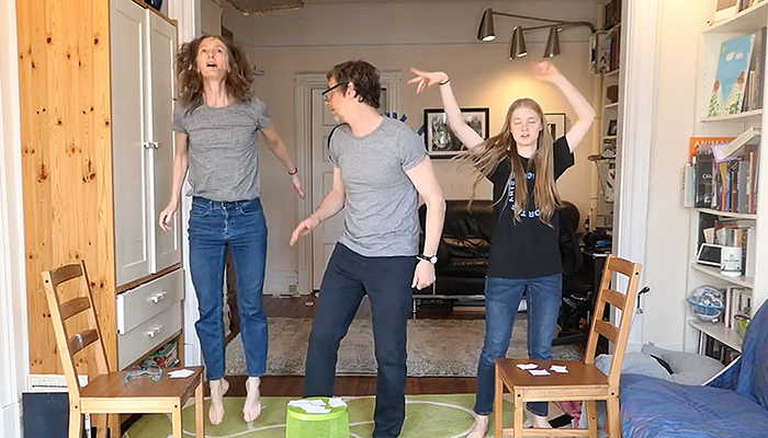 "Choreographer Kimberly Bartosik and family doing an at-home movement game as part of the Onassis Foundation's ""Enter"" project"