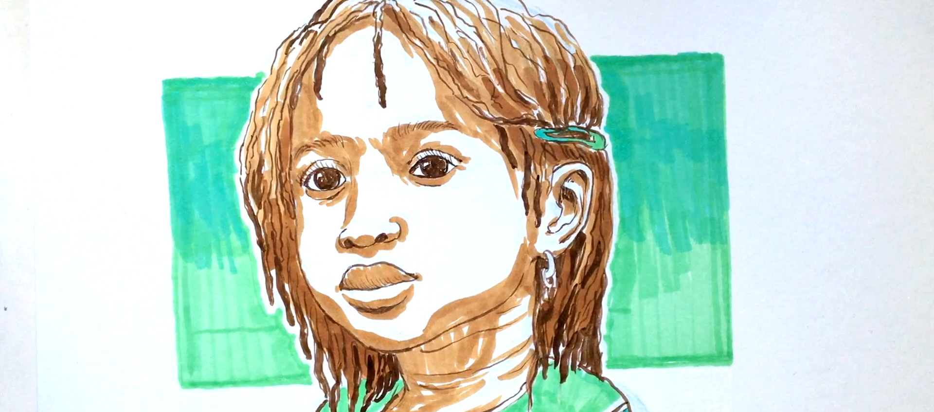 Portrait of a young girl of color against a green color block by illustrator & children's book author Robert Liu-Trujillo