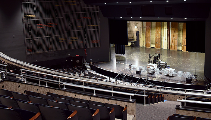 Mershon Auditorium being prepared for a performance