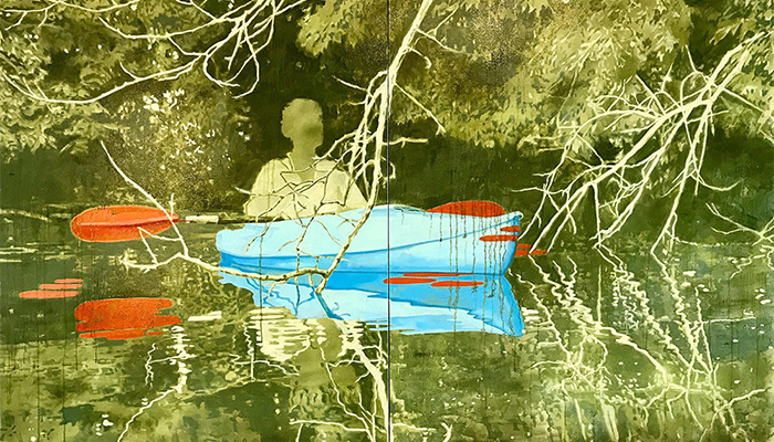Canoe Gathering 3 by Nick Stull, a mixed media painting of an individual in a blue boat with an orange tipped oar in a green-tinted scene of water and trees