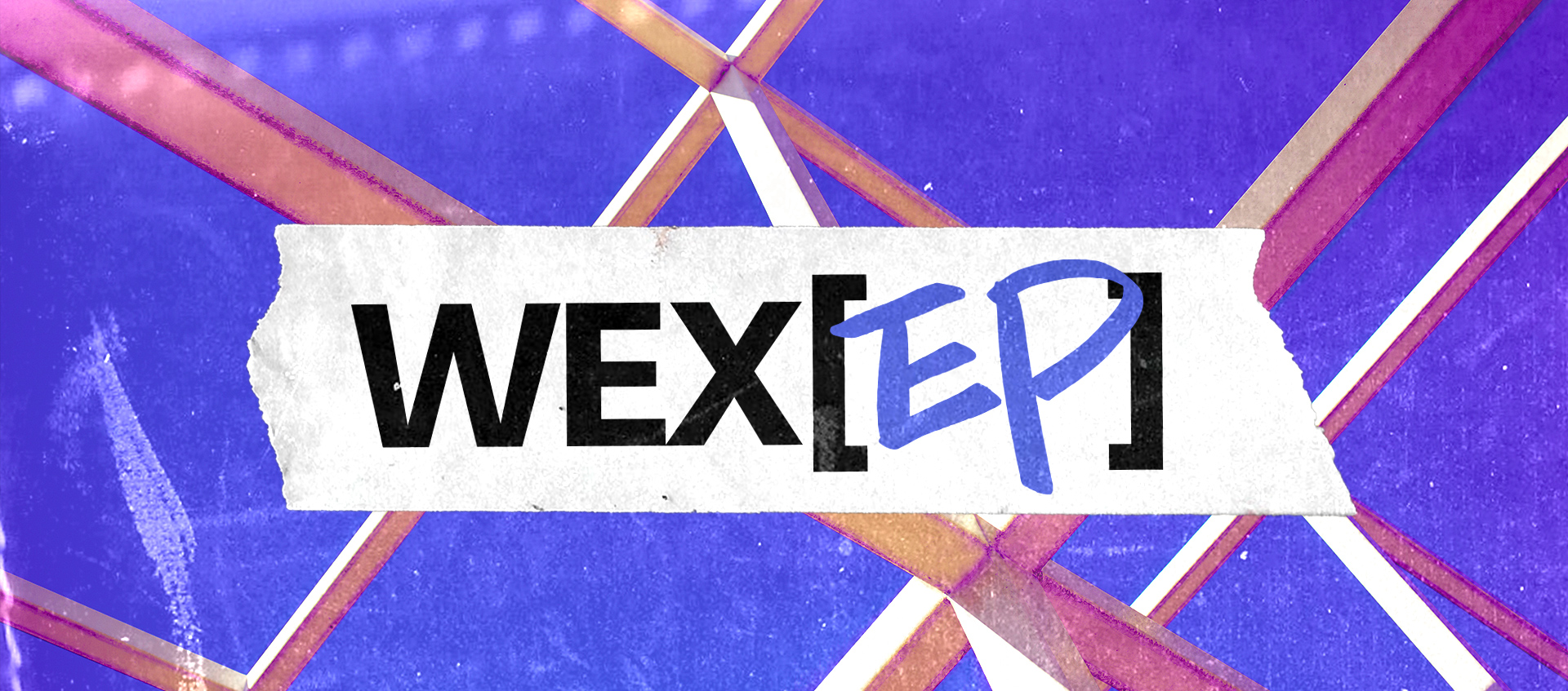 "A colorized version of the Wex grid is the background while ""WEX[EP]"" is written over top of it on a piece of tape."