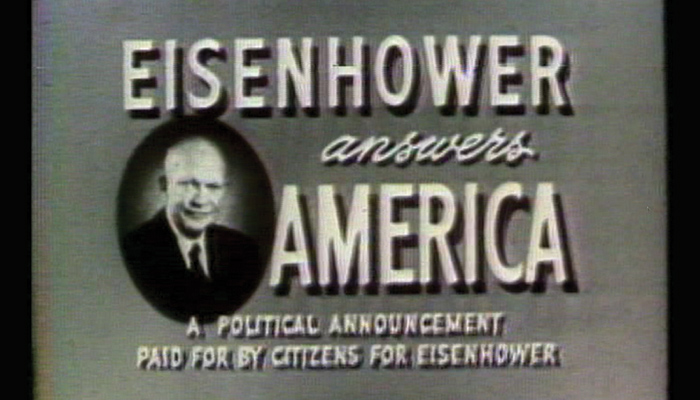 "An old black and white tv advertisement says ""Eisenhower Answers America"""