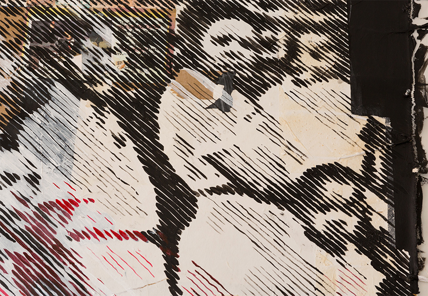 A detail shot of a collage painting depicts 5 blurry figures.