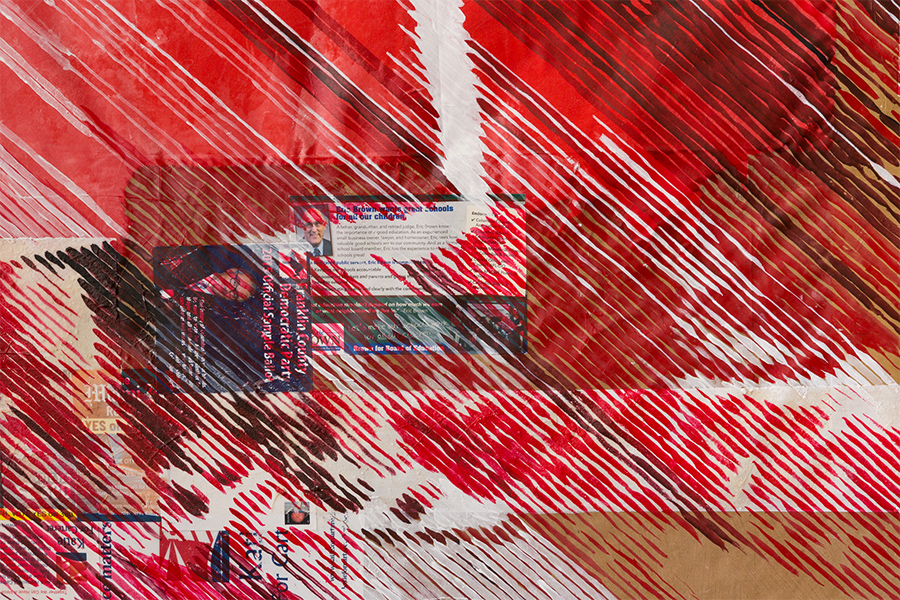 A detail of a collage painting showing red paint strokes over print ephemera containing messages about voting.
