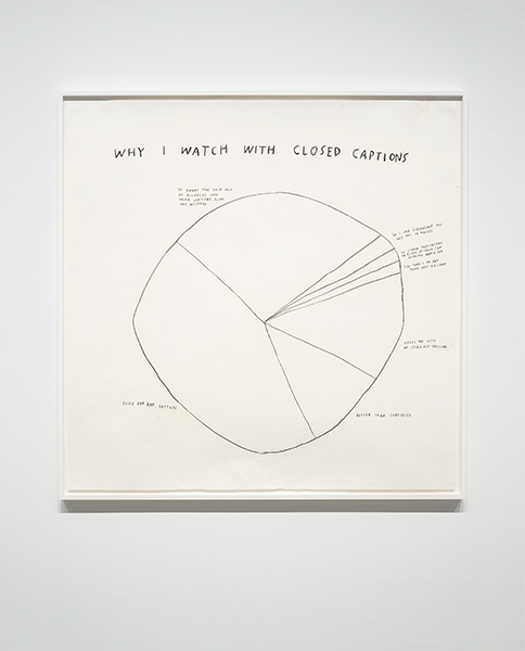"Image of hand drawn pie chart with the words ""Why I Watched with Closed Captions"""