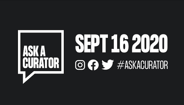 Ask a Curator logo with related hashtag and 2020 date in white on a black background