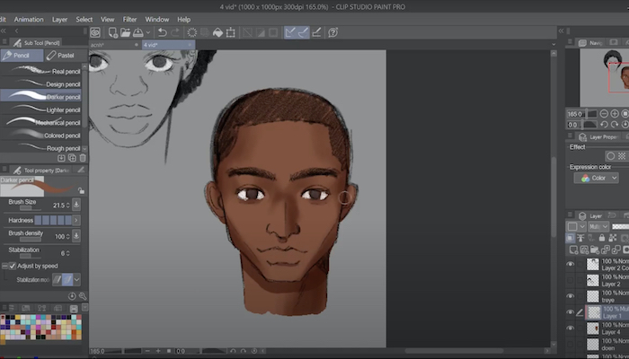 a portrait of a young Black man in Clip Studio Paint