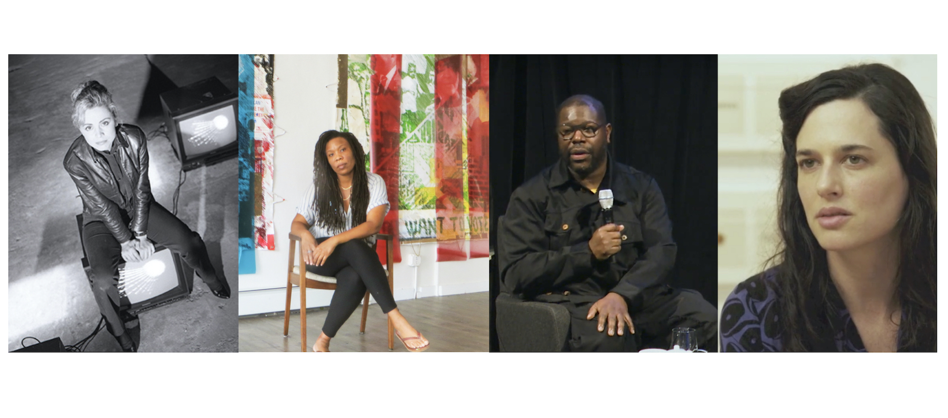 Side by side pictures of visual artists Gretchen Bender, Tomashi Jackson, Steve McQueen and Taryn Simon