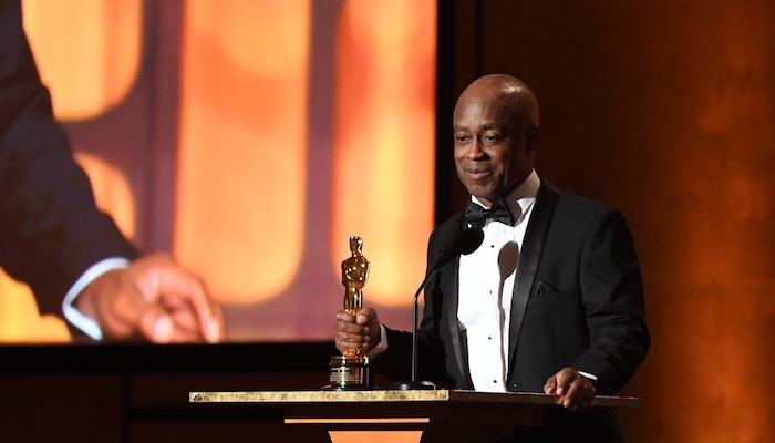 Director Charles Burnett receiving an honorary Oscar in 2017