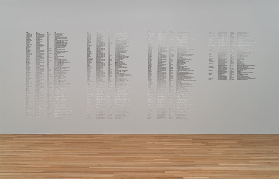 A list of names on a white wall in the Wexner Center galleries
