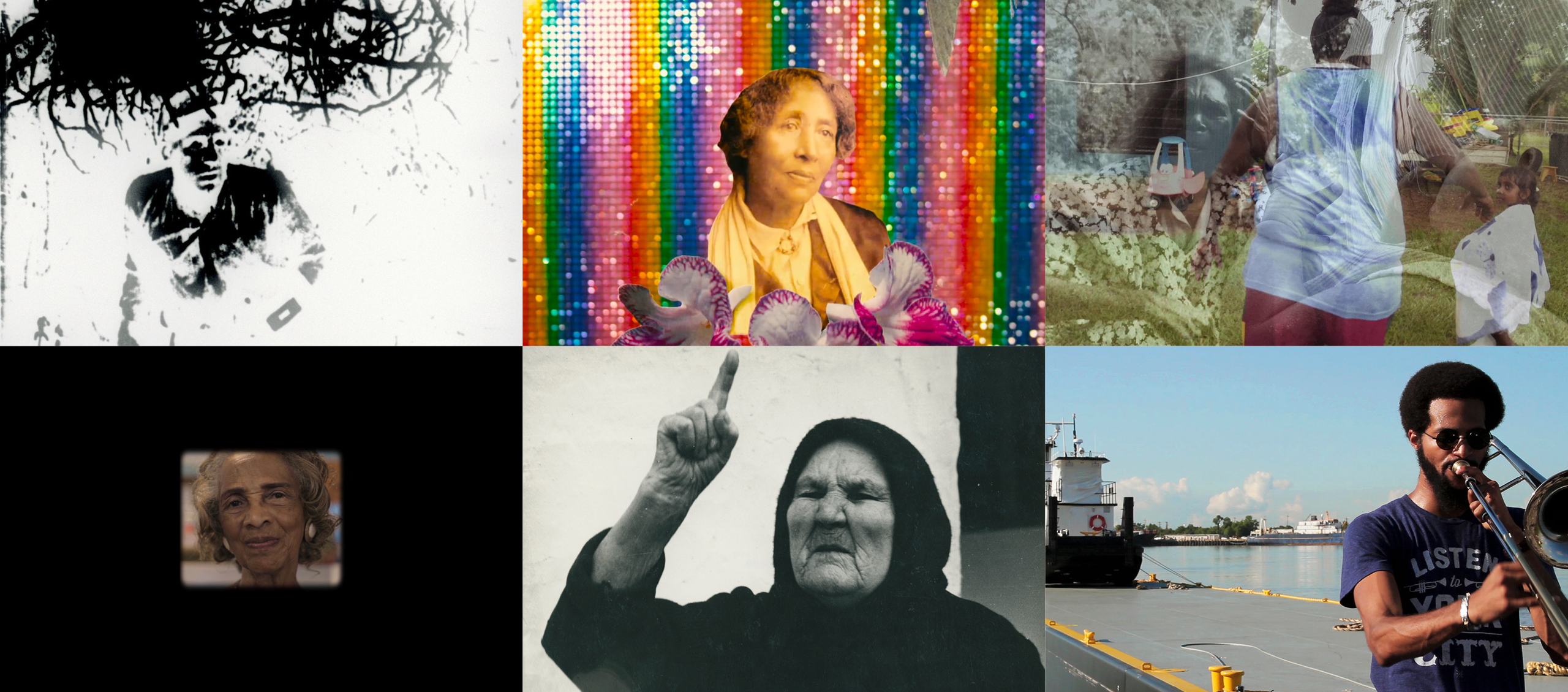 A collage of stills from the program Film Activism