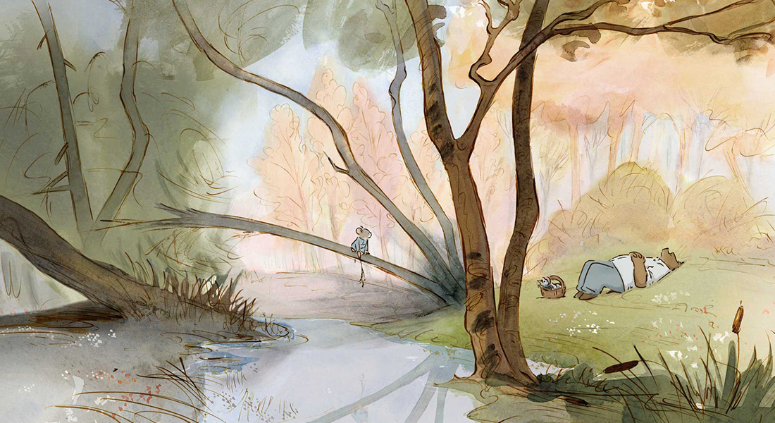 Celestine the mouse sits on a branch overhanging a river while Ernest the bear relaxes on the bank in the grass.