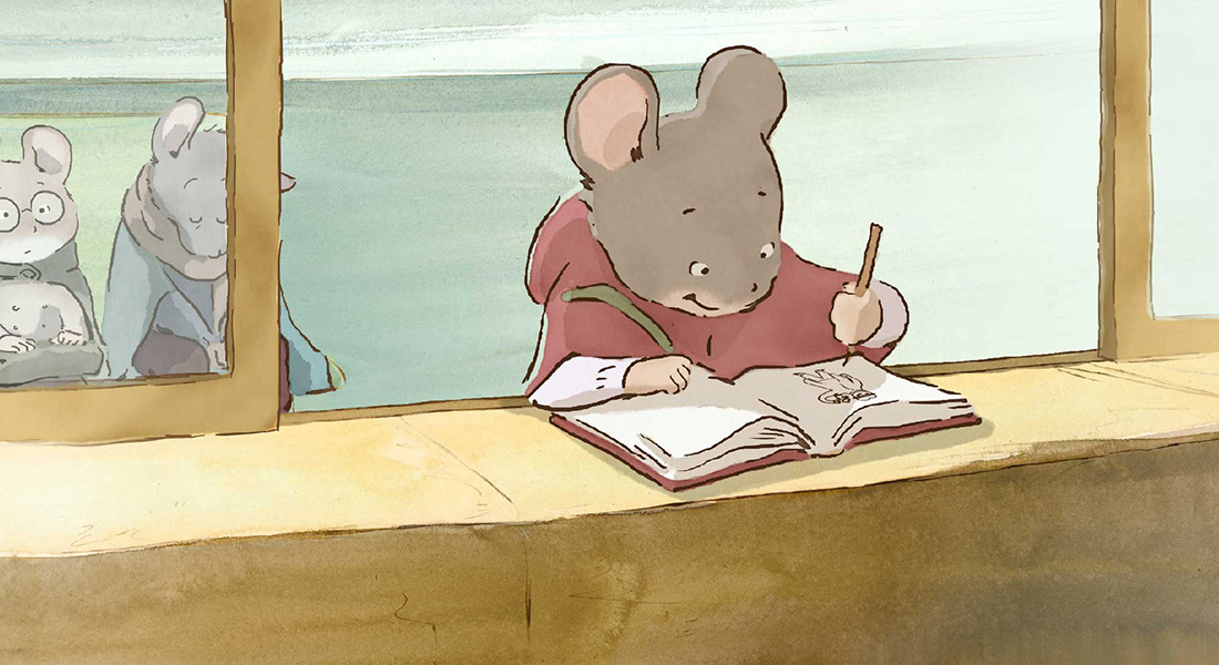 Celestine the mouse draws in a book.