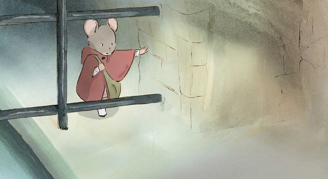 Celestine the mouse traverses a sewer.
