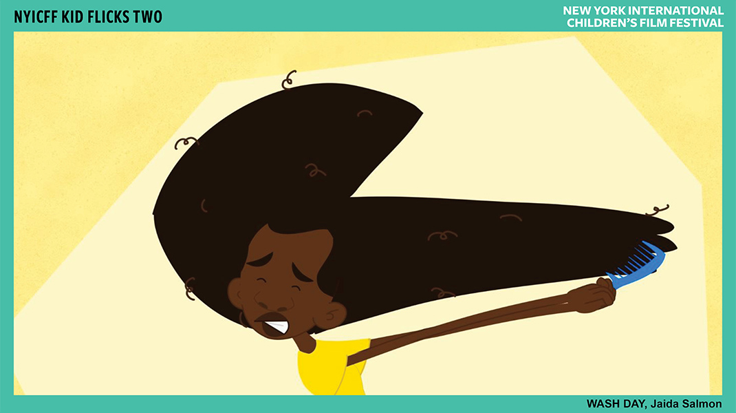 An animated character struggles to comb out their afro.