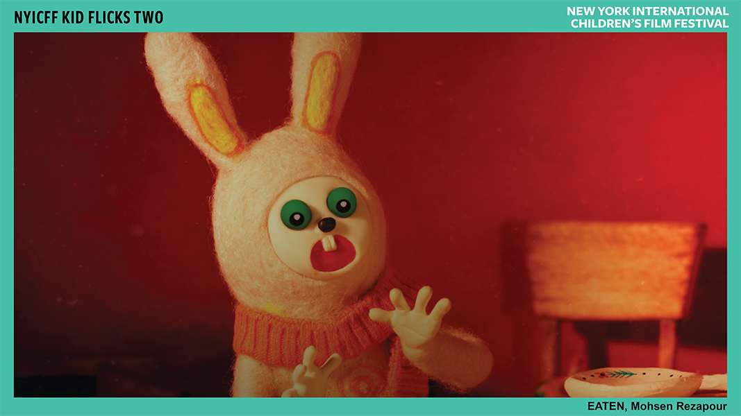A bunny made of clay has a shocked expression, their hands splayed in front of them.