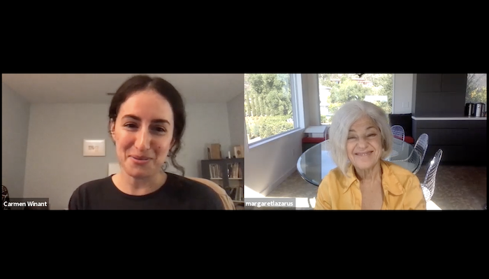 Screen capture of a Zoom video conversation between artist Carmen Winant and filmmaker Margaret Lazarus