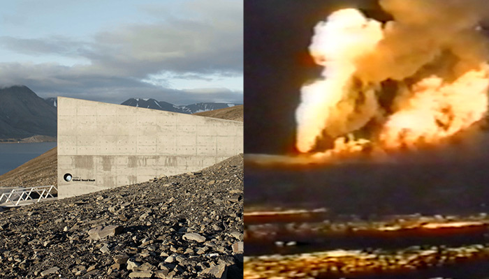 A split image with a still from Frank Heath's Midnight Sun on the left (featuring a view of the Svalbard Global Seed Vault's concrete exterior) and Monira Al Qadiri's Behind the Sun on the right (a view of burning oil fields in Kuwait circa 1991)
