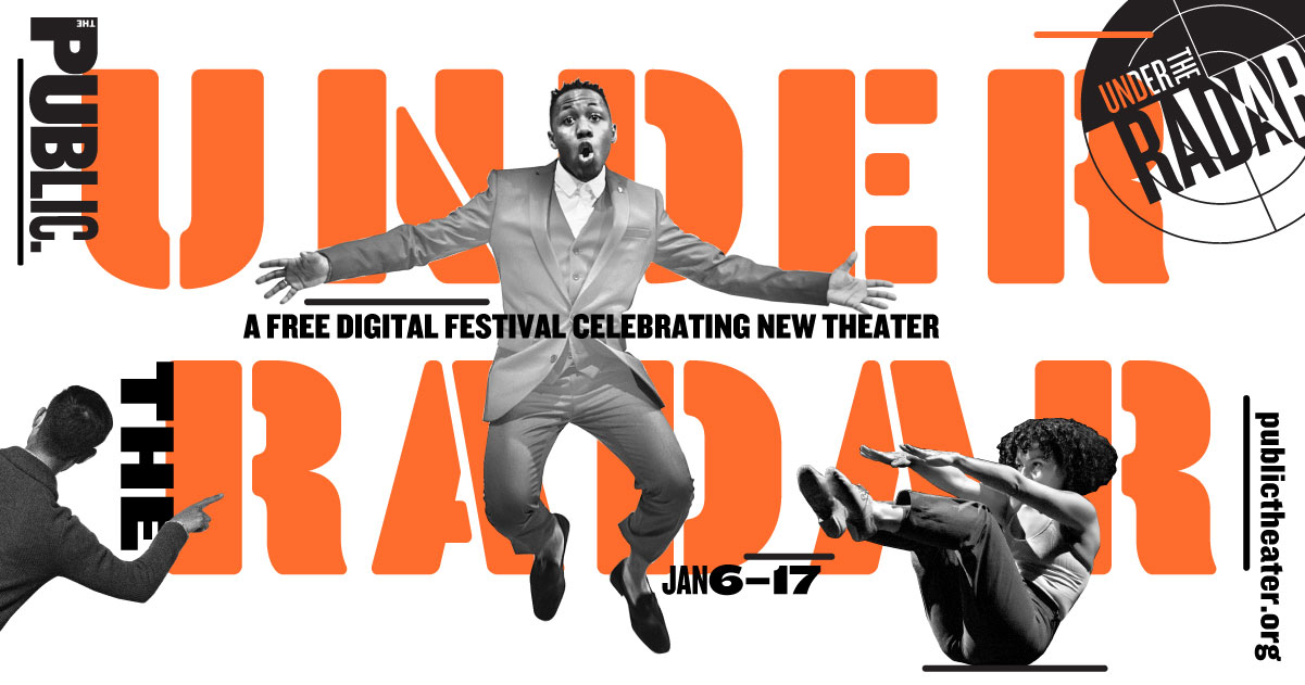 Under the Radar Festival logo. Text in orange and image of a man jumping in mid-air