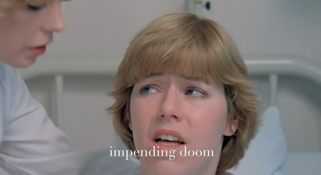 A young blonde woman in a bed looking at a nurse with a subtitle that says Impending Doom