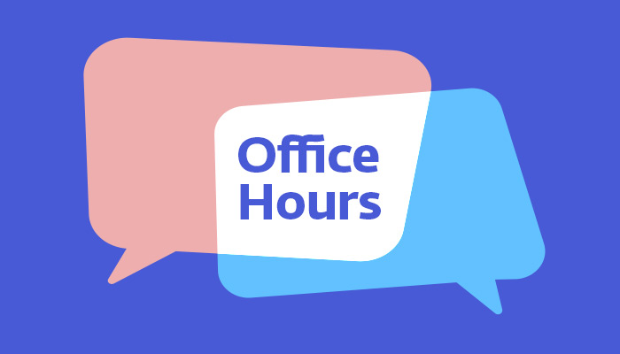 Office Hours logo is on a blue background with the words office hours written in a text bubble