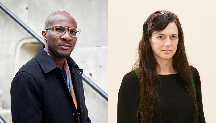 On the left a photo of Teju Cole standing in front of a stairwell, he is wearing eyeglasses and a black jacket. On the right a photo of Taryn Simon standing in front of a blank wall. She is wearing a black shirt.