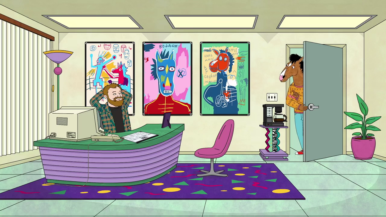 Jean-Michel Basquiat-inspired images as seen in the Netflix series BoJack Horseman
