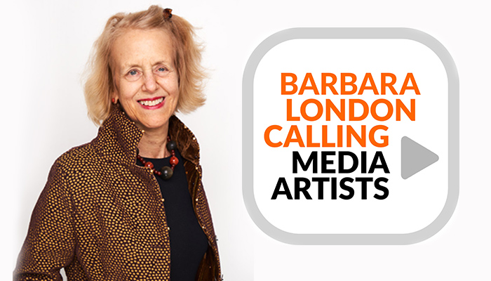 A photo of curator Barbara London next to the logo for her new podcast series Barbara London Calling
